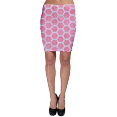 HEXAGON2 WHITE MARBLE & PINK WATERCOLOR Bodycon Skirt