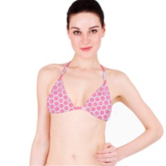 HEXAGON2 WHITE MARBLE & PINK WATERCOLOR Bikini Top