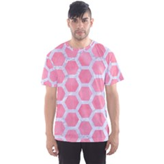 HEXAGON2 WHITE MARBLE & PINK WATERCOLOR Men s Sports Mesh Tee