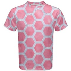 HEXAGON2 WHITE MARBLE & PINK WATERCOLOR Men s Cotton Tee