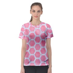 HEXAGON2 WHITE MARBLE & PINK WATERCOLOR Women s Sport Mesh Tee
