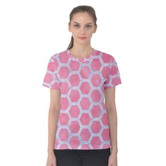 HEXAGON2 WHITE MARBLE & PINK WATERCOLOR Women s Cotton Tee