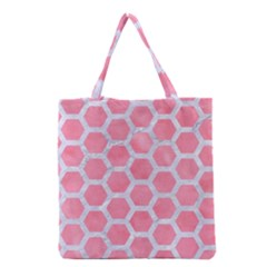 HEXAGON2 WHITE MARBLE & PINK WATERCOLOR Grocery Tote Bag