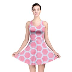 HEXAGON2 WHITE MARBLE & PINK WATERCOLOR Reversible Skater Dress
