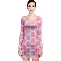 HEXAGON2 WHITE MARBLE & PINK WATERCOLOR Long Sleeve Bodycon Dress