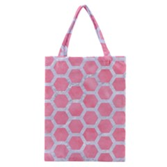HEXAGON2 WHITE MARBLE & PINK WATERCOLOR Classic Tote Bag