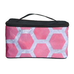 HEXAGON2 WHITE MARBLE & PINK WATERCOLOR Cosmetic Storage Case