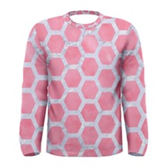 HEXAGON2 WHITE MARBLE & PINK WATERCOLOR Men s Long Sleeve Tee