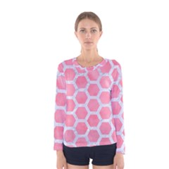 HEXAGON2 WHITE MARBLE & PINK WATERCOLOR Women s Long Sleeve Tee