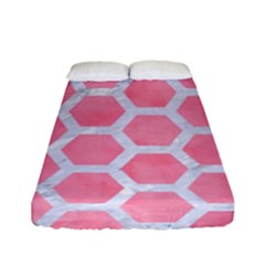 HEXAGON2 WHITE MARBLE & PINK WATERCOLOR Fitted Sheet (Full/ Double Size)