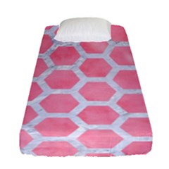 HEXAGON2 WHITE MARBLE & PINK WATERCOLOR Fitted Sheet (Single Size)