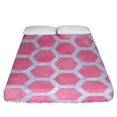 HEXAGON2 WHITE MARBLE & PINK WATERCOLOR Fitted Sheet (Queen Size)