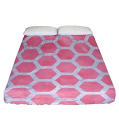 HEXAGON2 WHITE MARBLE & PINK WATERCOLOR Fitted Sheet (California King Size)