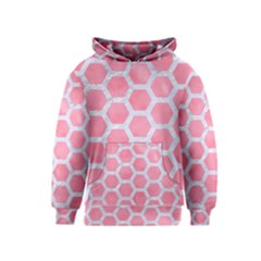 HEXAGON2 WHITE MARBLE & PINK WATERCOLOR Kids  Pullover Hoodie