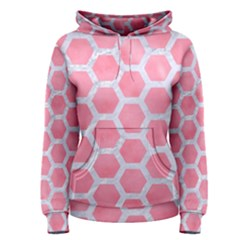 HEXAGON2 WHITE MARBLE & PINK WATERCOLOR Women s Pullover Hoodie
