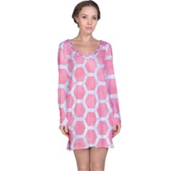 HEXAGON2 WHITE MARBLE & PINK WATERCOLOR Long Sleeve Nightdress