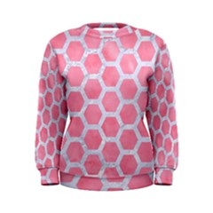 HEXAGON2 WHITE MARBLE & PINK WATERCOLOR Women s Sweatshirt