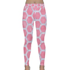 HEXAGON2 WHITE MARBLE & PINK WATERCOLOR Classic Yoga Leggings