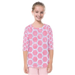 HEXAGON2 WHITE MARBLE & PINK WATERCOLOR Kids  Quarter Sleeve Raglan Tee