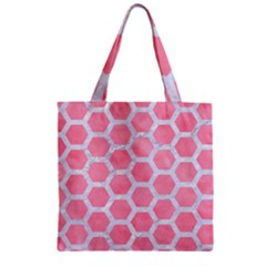 HEXAGON2 WHITE MARBLE & PINK WATERCOLOR Zipper Grocery Tote Bag
