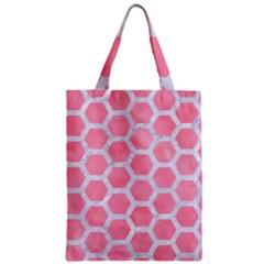 HEXAGON2 WHITE MARBLE & PINK WATERCOLOR Zipper Classic Tote Bag