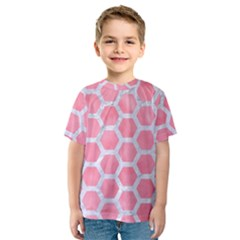 HEXAGON2 WHITE MARBLE & PINK WATERCOLOR Kids  Sport Mesh Tee