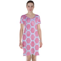 HEXAGON2 WHITE MARBLE & PINK WATERCOLOR Short Sleeve Nightdress