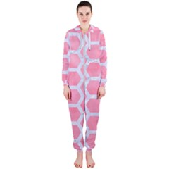 HEXAGON2 WHITE MARBLE & PINK WATERCOLOR Hooded Jumpsuit (Ladies)