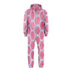 HEXAGON2 WHITE MARBLE & PINK WATERCOLOR Hooded Jumpsuit (Kids)
