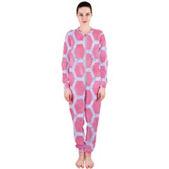 HEXAGON2 WHITE MARBLE & PINK WATERCOLOR OnePiece Jumpsuit (Ladies)