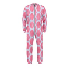 HEXAGON2 WHITE MARBLE & PINK WATERCOLOR OnePiece Jumpsuit (Kids)