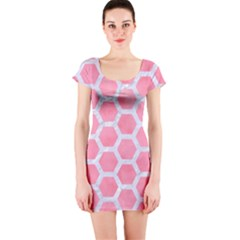 HEXAGON2 WHITE MARBLE & PINK WATERCOLOR Short Sleeve Bodycon Dress