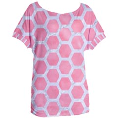 HEXAGON2 WHITE MARBLE & PINK WATERCOLOR Women s Oversized Tee