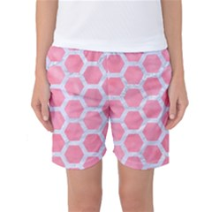HEXAGON2 WHITE MARBLE & PINK WATERCOLOR Women s Basketball Shorts