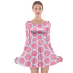 HEXAGON2 WHITE MARBLE & PINK WATERCOLOR Long Sleeve Skater Dress