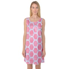 HEXAGON2 WHITE MARBLE & PINK WATERCOLOR Sleeveless Satin Nightdress