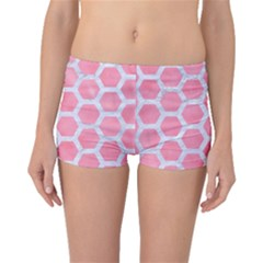 HEXAGON2 WHITE MARBLE & PINK WATERCOLOR Boyleg Bikini Bottoms