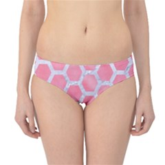 HEXAGON2 WHITE MARBLE & PINK WATERCOLOR Hipster Bikini Bottoms