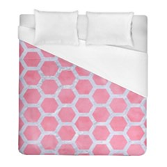 HEXAGON2 WHITE MARBLE & PINK WATERCOLOR Duvet Cover (Full/ Double Size)