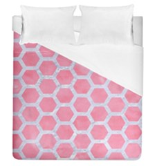 HEXAGON2 WHITE MARBLE & PINK WATERCOLOR Duvet Cover (Queen Size)