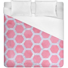 HEXAGON2 WHITE MARBLE & PINK WATERCOLOR Duvet Cover (King Size)