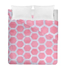 HEXAGON2 WHITE MARBLE & PINK WATERCOLOR Duvet Cover Double Side (Full/ Double Size)