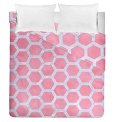 HEXAGON2 WHITE MARBLE & PINK WATERCOLOR Duvet Cover Double Side (Queen Size)