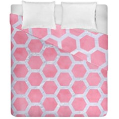 HEXAGON2 WHITE MARBLE & PINK WATERCOLOR Duvet Cover Double Side (California King Size)
