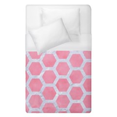 HEXAGON2 WHITE MARBLE & PINK WATERCOLOR Duvet Cover (Single Size)