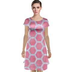 HEXAGON2 WHITE MARBLE & PINK WATERCOLOR Cap Sleeve Nightdress