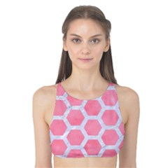 HEXAGON2 WHITE MARBLE & PINK WATERCOLOR Tank Bikini Top