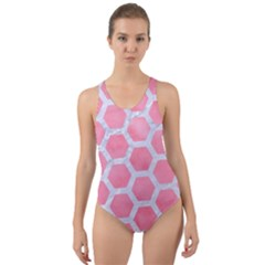 HEXAGON2 WHITE MARBLE & PINK WATERCOLOR Cut-Out Back One Piece Swimsuit