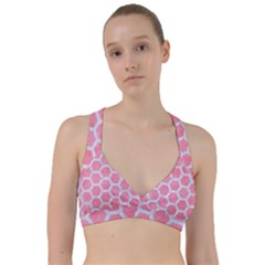 HEXAGON2 WHITE MARBLE & PINK WATERCOLOR Sweetheart Sports Bra