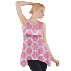 HEXAGON2 WHITE MARBLE & PINK WATERCOLOR Side Drop Tank Tunic